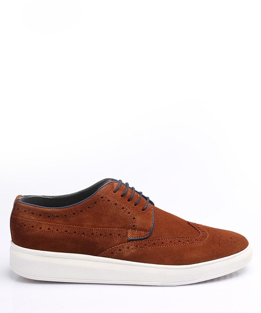 Tan suede perforated sneakers Sale - Eskina
