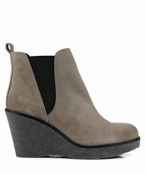 Gaby grey suede wedge boots