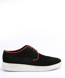 Black & red suede perforated sneakers