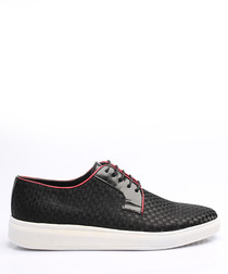 Black & red leather weaved sneakers