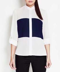 Ecru & navy block print shirt