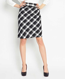 White plaid print midi skirt