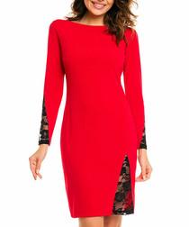 Red & black lace cut-out midi dress