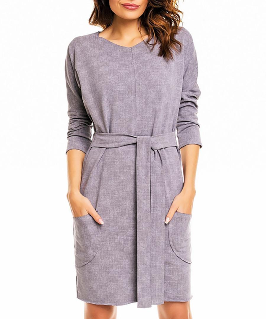 Grey cotton blend tie-up mini dress Sale - awama