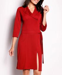 Red lapel collar midi dress