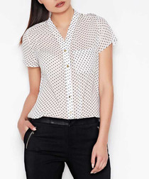 Ecru polka dot short-sleeved blouse