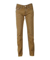 Straw pure cotton straight flap jeans
