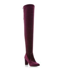 Stella burgundy velvet over-knee boots