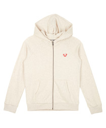 Girls' 7-14yrs oatmeal cotton hoodie