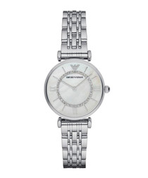 Silver-tone & mother of pearl watch