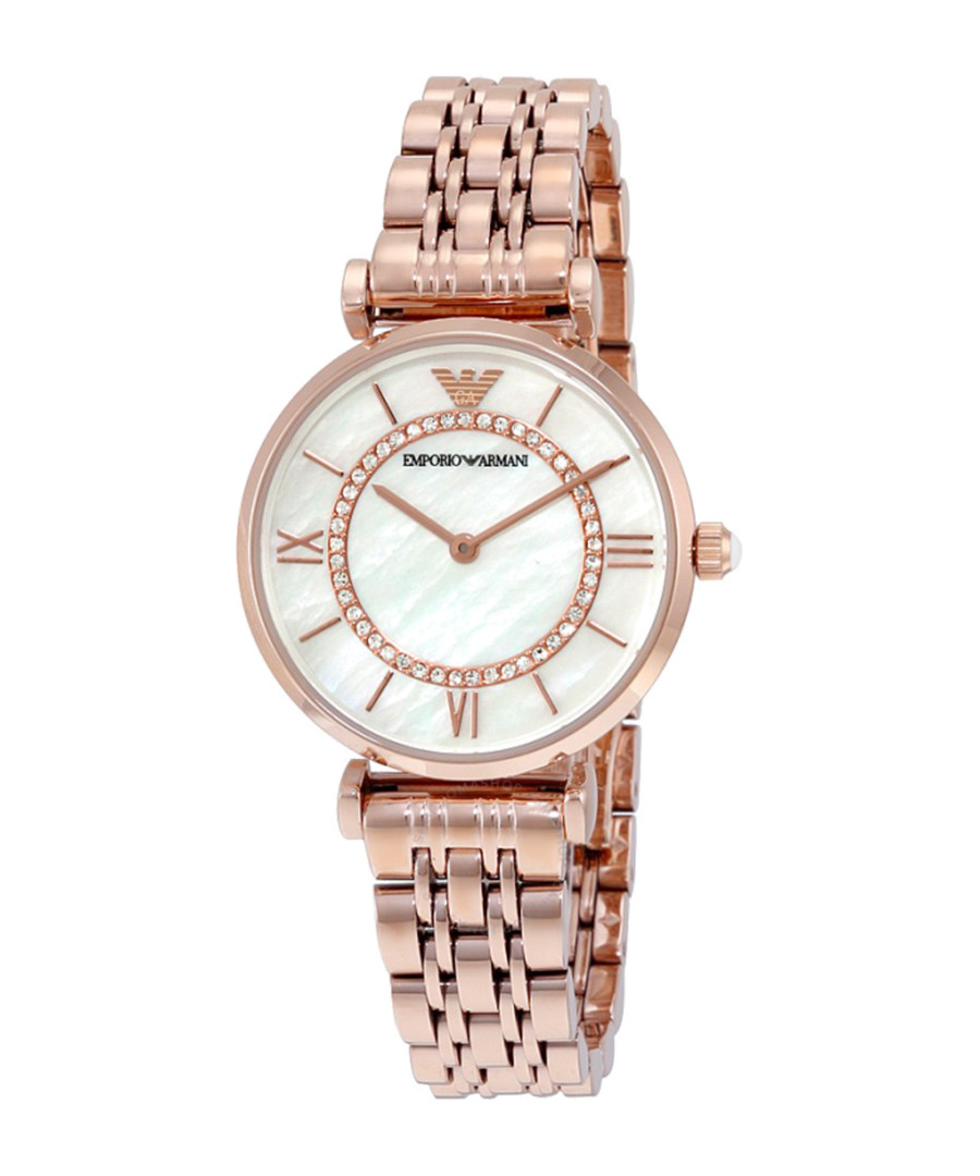 Rose gold-plated crystal watch Sale - Emporio Armani