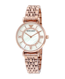 Rose gold-plated crystal watch
