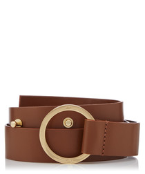 Pecan brown leather & gold-tone belt
