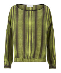 Ebony green pure silk printed jumper