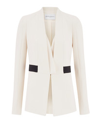 Cream & black collarless blazer