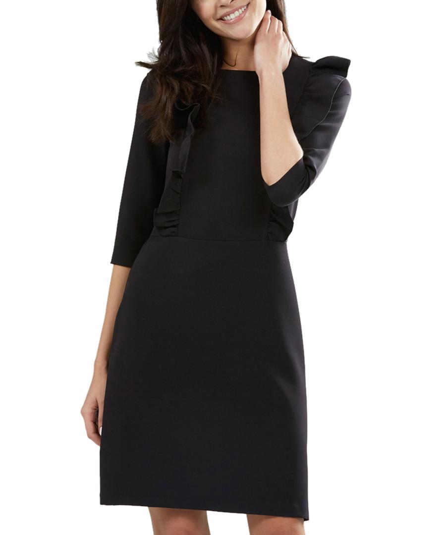 Black ruffle sleeve detail mini dress Sale - zibi london
