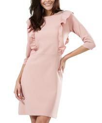 Pink ruffled yoke mini dress