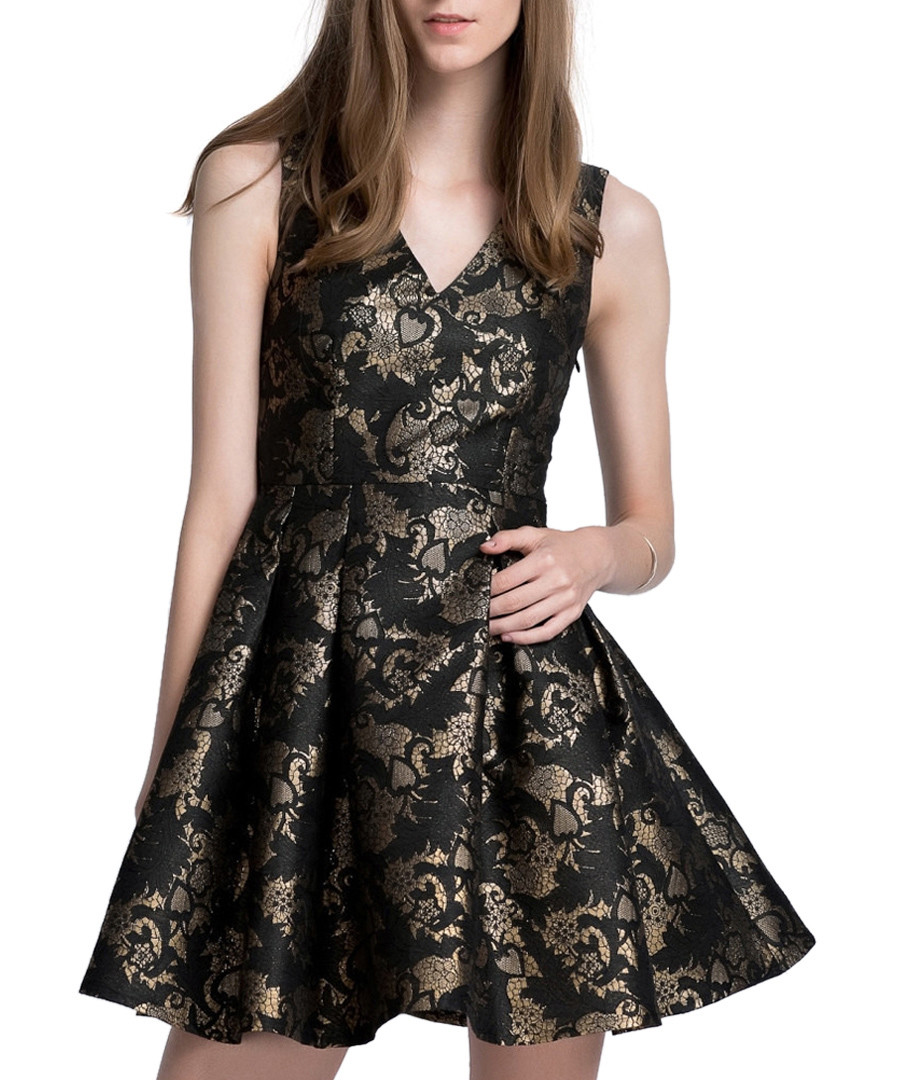 Gold   black brocade skater dress Sale - Zibi London ... d56038f4fdad