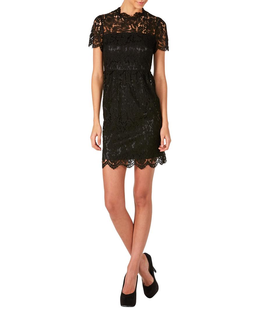 Black lace short-sleeve mini dress Sale - zibi london