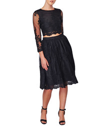 Black scalloped lace top