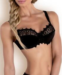 Black half lace detail balconette bra