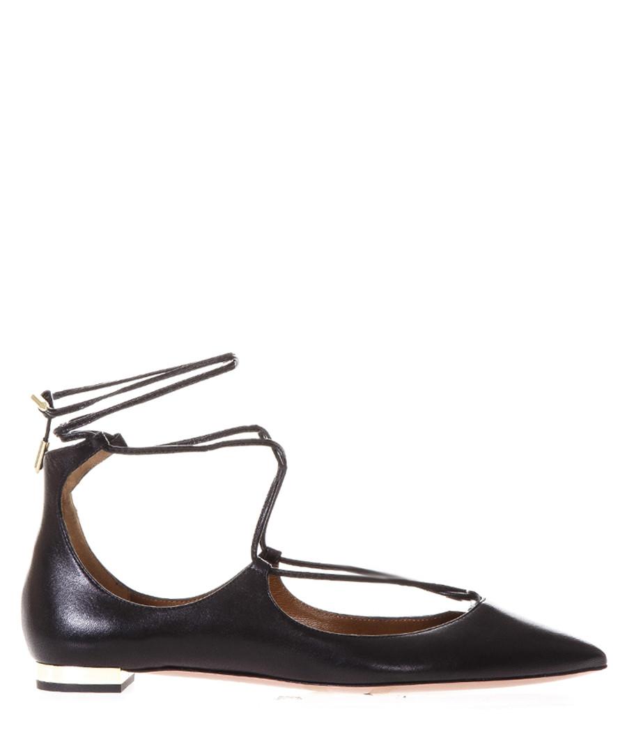 Christy black leather string flats Sale - aquazzura
