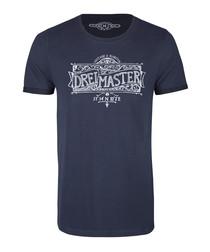 Men's marine blue cotton printed T-shirt
