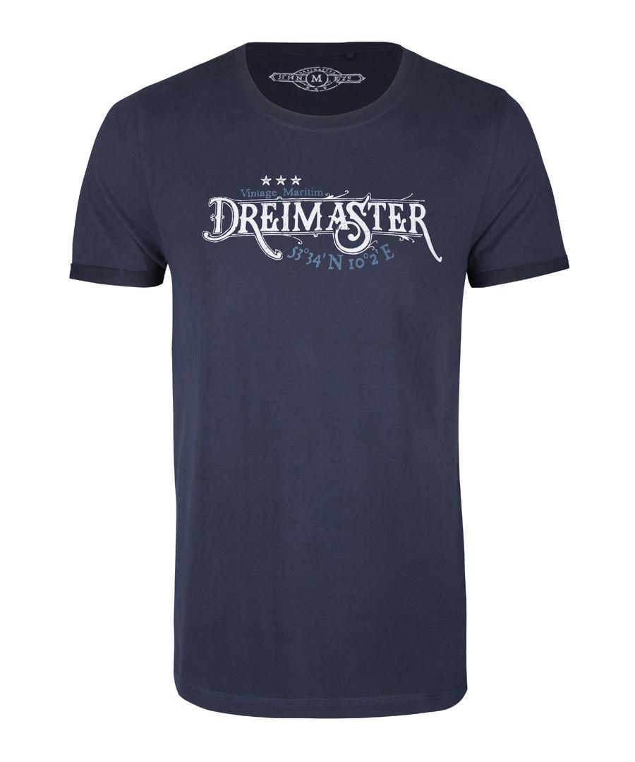 Men's marine blue cotton logo T-shirt Sale - DreiMaster