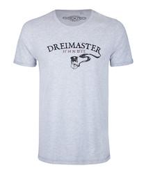 Men's grey cotton blend print T-shirt
