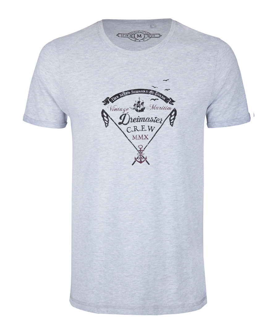 Men's grey cotton blend logo T-shirt Sale - DreiMaster