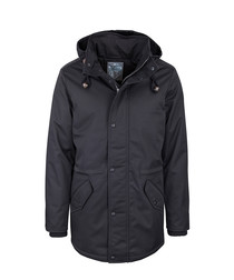 Black hooded side pocket jacket