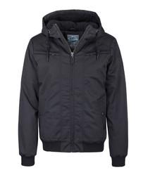 Men's black hooded short jacket