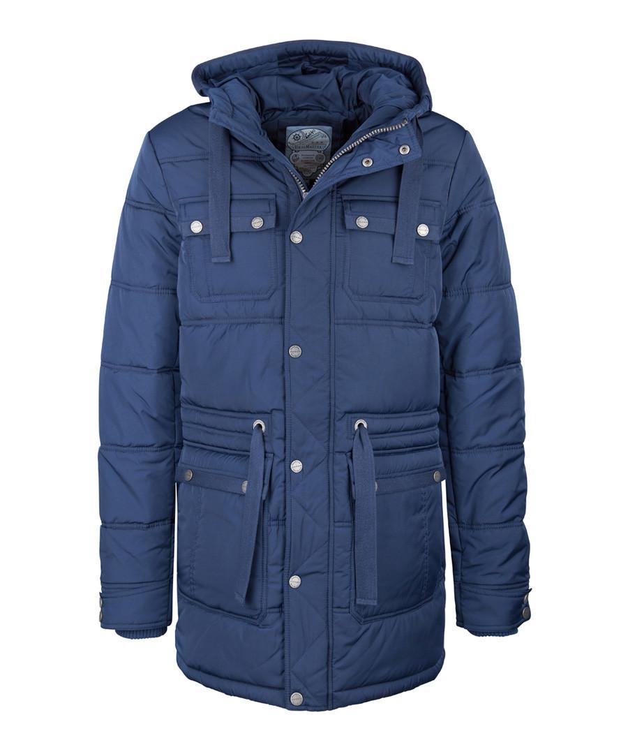 Men's marine blue padded long coat Sale - DreiMaster