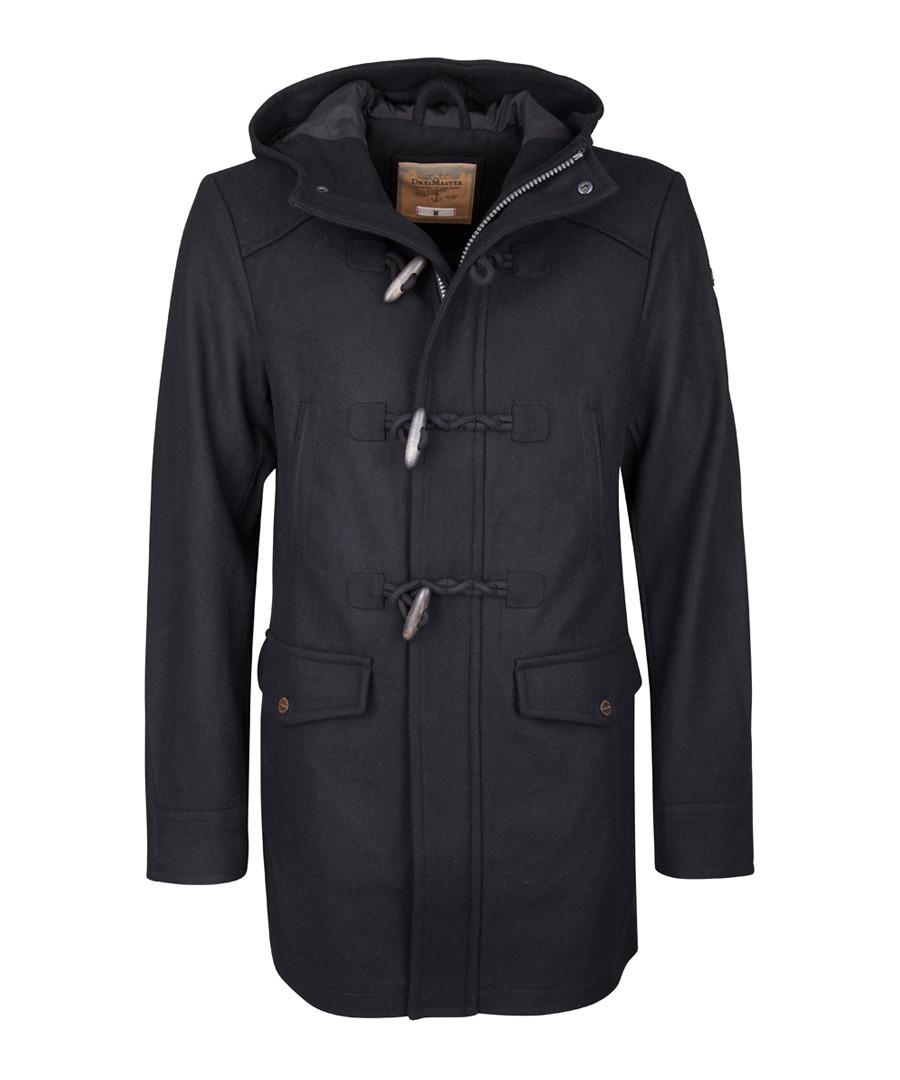 Black wool blend duffle coat Sale - DreiMaster