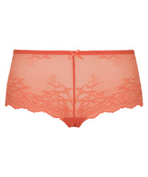 Coral lace hipster briefs
