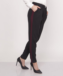 Black & maroon stripe trousers