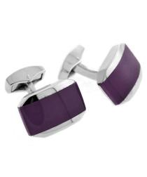 Silver-tone & purple glass cufflinks