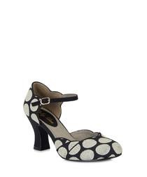 Annabel black spotted low heels