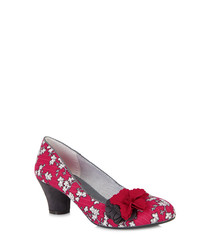 Samira red & charcoal low heels
