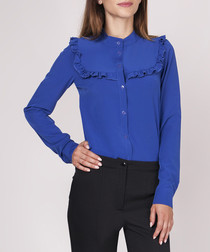 Cobalt frill detail button-up blouse