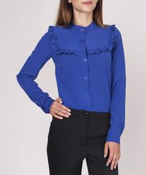 Cobalt frill detail button-up blouse