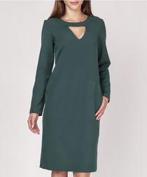 Green pocket detail pencil midi dress