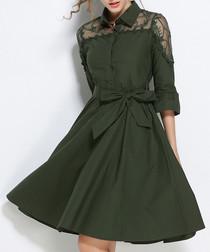 Green cotton blend lace midi dress