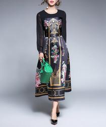 Black satin-effect brocade print dress