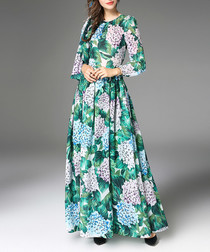 Blue & green cotton blend maxi dress