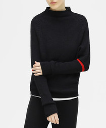 Black knit red stripe jumper