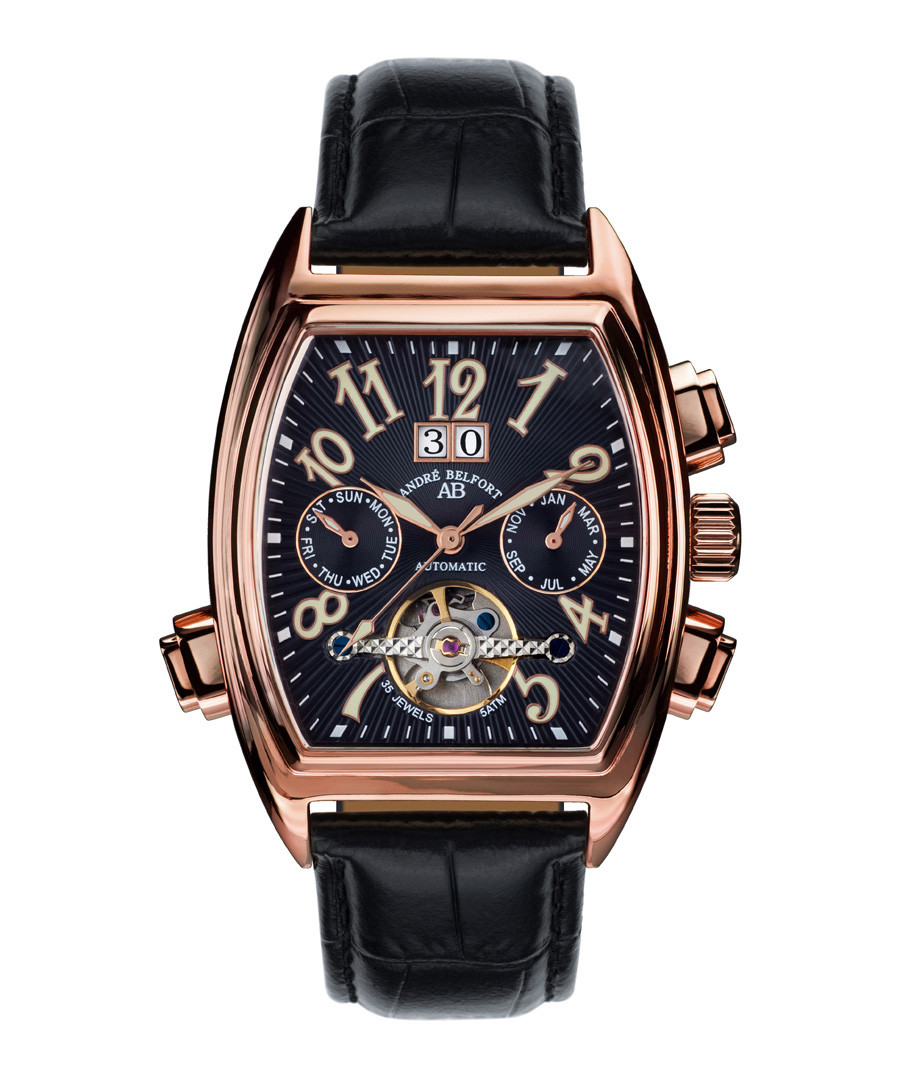 Royale Date black leather watch Sale - andre belfort