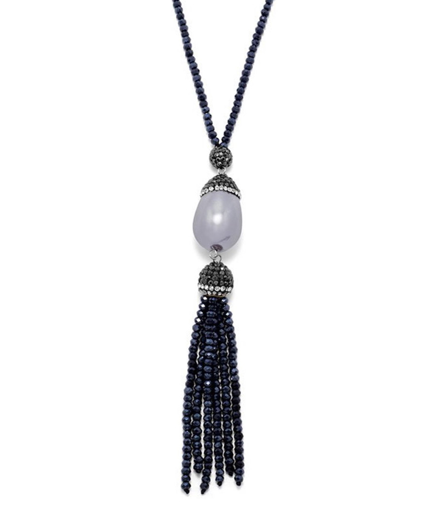 Grey & blue onyx crystal necklace Sale - chloe collection by liv oliver