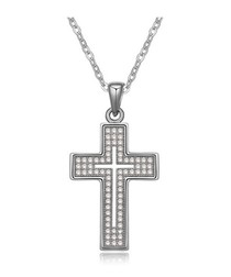 White Cubic Zirconia Crystal Cross Pendant and Rhodium Plated