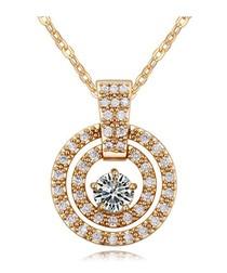 White Crystal Cubic Zirconia Pendant and Yellow Gold Plated